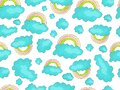 Vector cute rainbow seamless pattern with colorful rainbows and blue clouds on white background. Cute cartoon nursery
