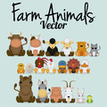 Vector cute set of different farm animals a Royalty Free Stock Photography
