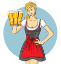 Vector Cute Woman In Drindl On Oktoberfest Royalty Free Stock Photo