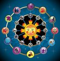 Vector cute zodiac wheel with the sun Royalty Free Stock Image