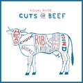 Vector cuts of beef cow logo red blue on white monogram vintage