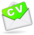 Vector cv by mail icon illustration of on white background Stock Images