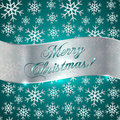 Vector cyan background with snowflakes and silver greeting ribbon Royalty Free Stock Images