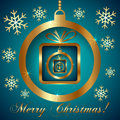 Vector cyan gold decorative christmas greeting card with snowflakes ball and nested gifts Stock Image
