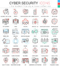 Vector Cyber security ultra modern color outline line icons for apps and web design. Royalty Free Stock Photo