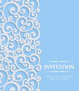 Vector 3d Blue Vintage Invitation Card with Floral Curled Pattern Royalty Free Stock Photo