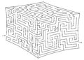 Vector 3d cube maze (labyrinth) Royalty Free Stock Photo
