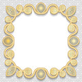 Vector 3D gold frame, festive pattern embossing Royalty Free Stock Photo