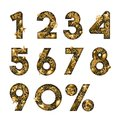 Vector 3d gold numbers. Paper cut arabic numerals. Design for winter sale banner, poster, labels, anniversary cards. Royalty Free Stock Photo