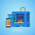Vector 3D printin concept poster in flat style. Industrial printer print objects from smartphone.