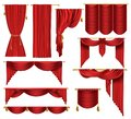 Vector 3d realistic set of red luxury curtains Royalty Free Stock Photo