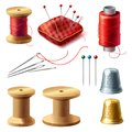 Vector 3d realistic tailor set for sewing Royalty Free Stock Photo