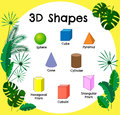 Vector 3d shapes.Educational poster for children.set of 3d shapes.  solid geometric shapes. Cube, cuboid Royalty Free Stock Photo