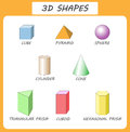 Vector 3d shapes.Educational poster for children.set of 3d shapes.  solid geometric shapes. Cube, cuboid, pyramid, sphere, Royalty Free Stock Photo