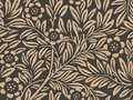 Vector damask seamless retro pattern background botanic garden nature plant leaf flower. Elegant luxury brown tone design for