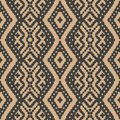 Vector damask seamless retro pattern background check geometry cross aboriginal frame. Elegant luxury brown tone design for Royalty Free Stock Photo