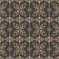 Vector damask seamless retro pattern background check polygon geometry cross star frame line flower. Elegant luxury brown tone Royalty Free Stock Photo