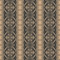 Vector damask seamless retro pattern background curve spiral cross leaf frame vine flower. Elegant luxury brown tone design for