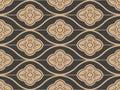 Vector damask seamless retro pattern background oriental curve cross frame line flower. Elegant luxury brown tone design for