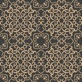 Vector damask seamless retro pattern background oriental spiral curve cross frame chain vine. Elegant luxury brown tone design for