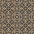 Vector damask seamless retro pattern background polygon geometry cross frame flower kaleidoscope. Elegant luxury brown tone design