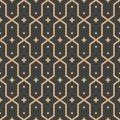 Vector damask seamless retro pattern background polygon geometry cross frame star kaleidoscope. Elegant luxury brown tone design Royalty Free Stock Photo