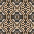 Vector damask seamless retro pattern background polygon geometry cross triangle frame. Elegant luxury brown tone design for Royalty Free Stock Photo