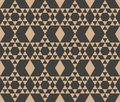 Vector damask seamless retro pattern background polygon geometry triangle cross frame check. Elegant luxury brown tone design for Royalty Free Stock Photo
