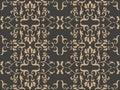 Vector damask seamless retro pattern background spiral curve cross botnaic garden frame leaf vine flower. Elegant luxury brown