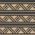 Vector damask seamless retro pattern background triangle cross geometry frame line. Elegant luxury brown tone design for Royalty Free Stock Photo