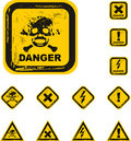 The vector danger grunge buttons Royalty Free Stock Photo