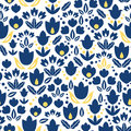 Vector dark blue navy and yellow tulips flowers seamless repeat pattern bacgkround design. Great for springtime greeting