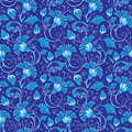 Vector dark blue turkish floral seamless pattern background graphic design Royalty Free Stock Photo