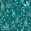 Vector dark green seaweed underwater plants seamless pattern graphic design Royalty Free Stock Image