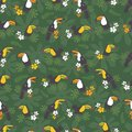 Vector dark green tropical birthday party seamless pattern background. With toucan birds.Perfect for fabric, scrapbooking,