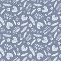 Vector dark grey tropical summer hawaiian seamless pattern with tropical plants, leaves, and hibiscus flowers on white Royalty Free Stock Photo