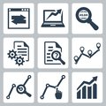 Vector data analysis icons set Stock Images