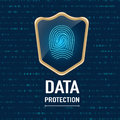 Vector : Data Protection concept, Gold sheild protect a finger p Royalty Free Stock Photo