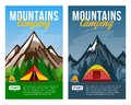Vector day and night mountains camping vertical banners Royalty Free Stock Photo
