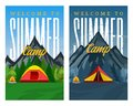 Vector day and night mountains summer camp vertical banners Royalty Free Stock Photo
