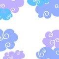 Vector daytime cartoon clouds frame