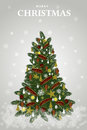 Vector decoration christmas tree for holiday vector illustration on snow flack background Stock Photo