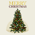 Vector decoration christmas tree for holiday vector illustration on snow flack background Stock Images