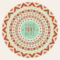 Vector decorative geometric round frame background design element in teal and red abstract Royalty Free Stock Photo