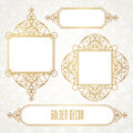 Vector decorative line art frames in Eastern style. Royalty Free Stock Photo