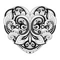 Vector Decorative Monochrome Abstract Heart Royalty Free Stock Photo