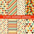 Vector decorative set of 8 retro seamless patterns