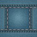 Vector denim square border stitched lace Stock Images