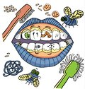 Vector dental hygiene humour with mouth showing dirty teeth with worms and plaque and vegetables.