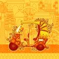 Vector design of auto rickshaw on famous monument backdrop